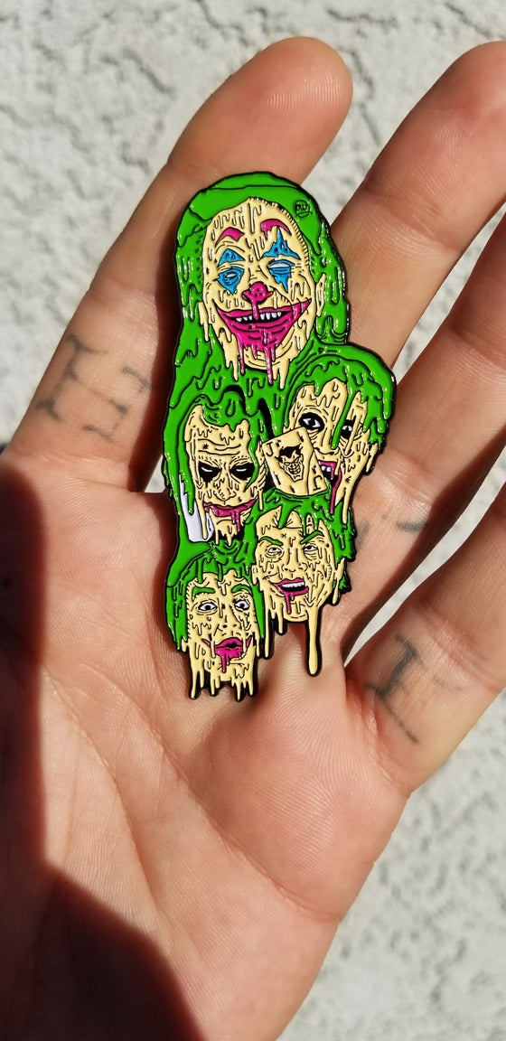 Image of 4 INCH LOS JOKERS DELA GRIME PIN (W/ FREE 5 INCH MATCHING VINYL STICKER)