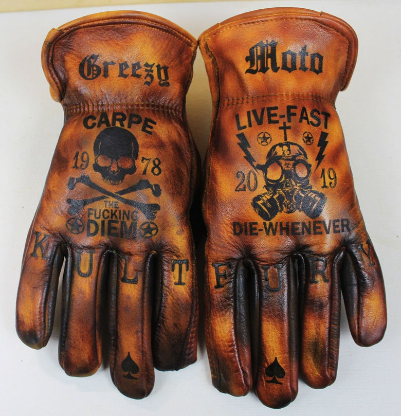 Image of Carpe Diem/Live Fast,Die Whenever custom leather gloves