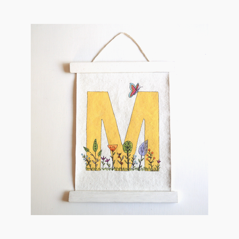Image of Flower Garden Children's Monogram Canvas Wall Hanging
