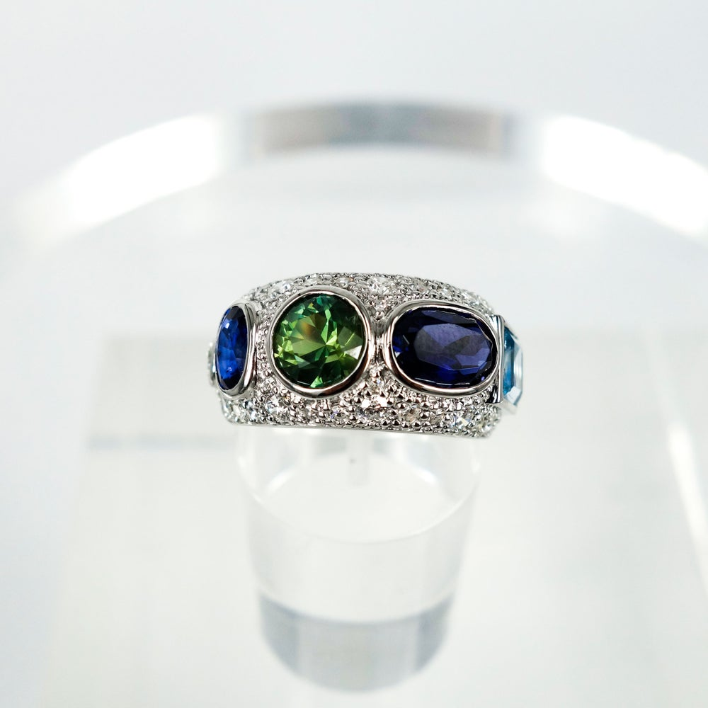 Image of 18ct white gold multi stone cocktail ring