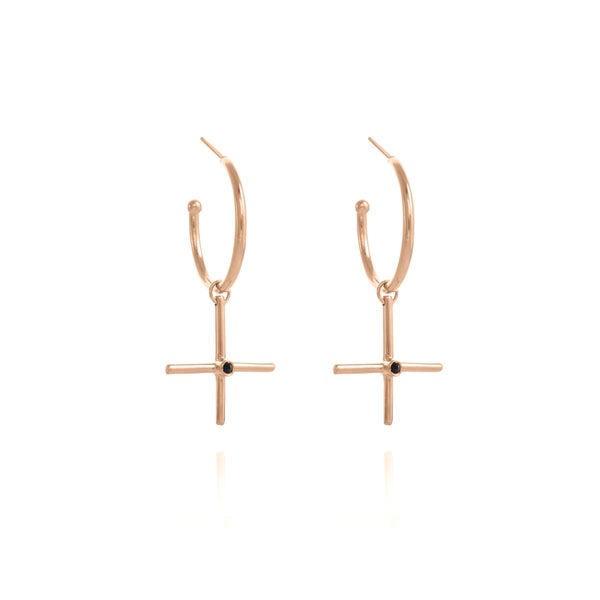 Image of XL Rose Gold Gipsy Plus silver Earring