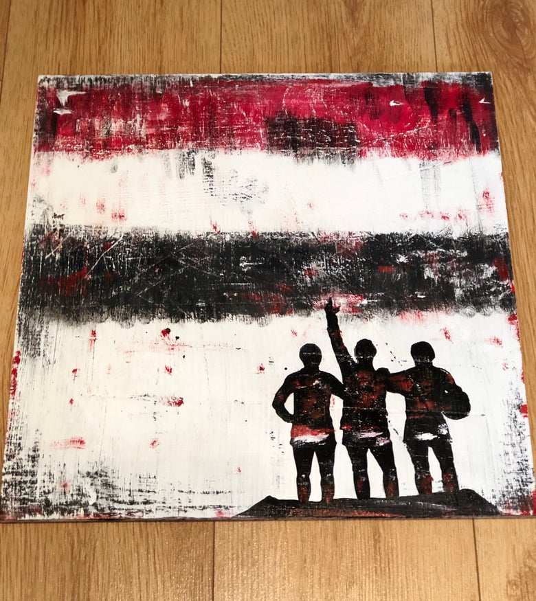 Image of The Holy Trinity - Manchester United original art panited on wood 40 x 40 cms