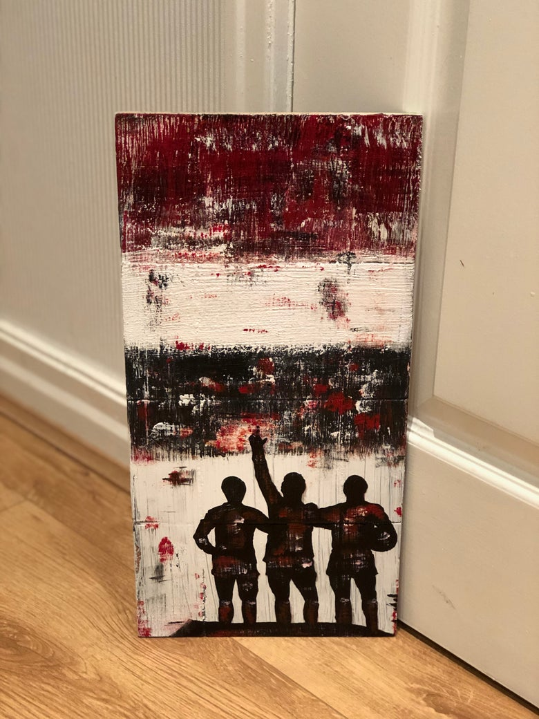 Image of The Holy Trinity - Manchester United original art panited on wood 40 x 20 cms