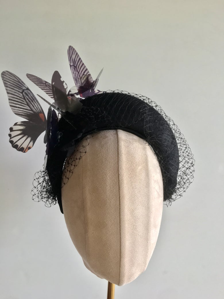 Image of Black felt halo w butterflies