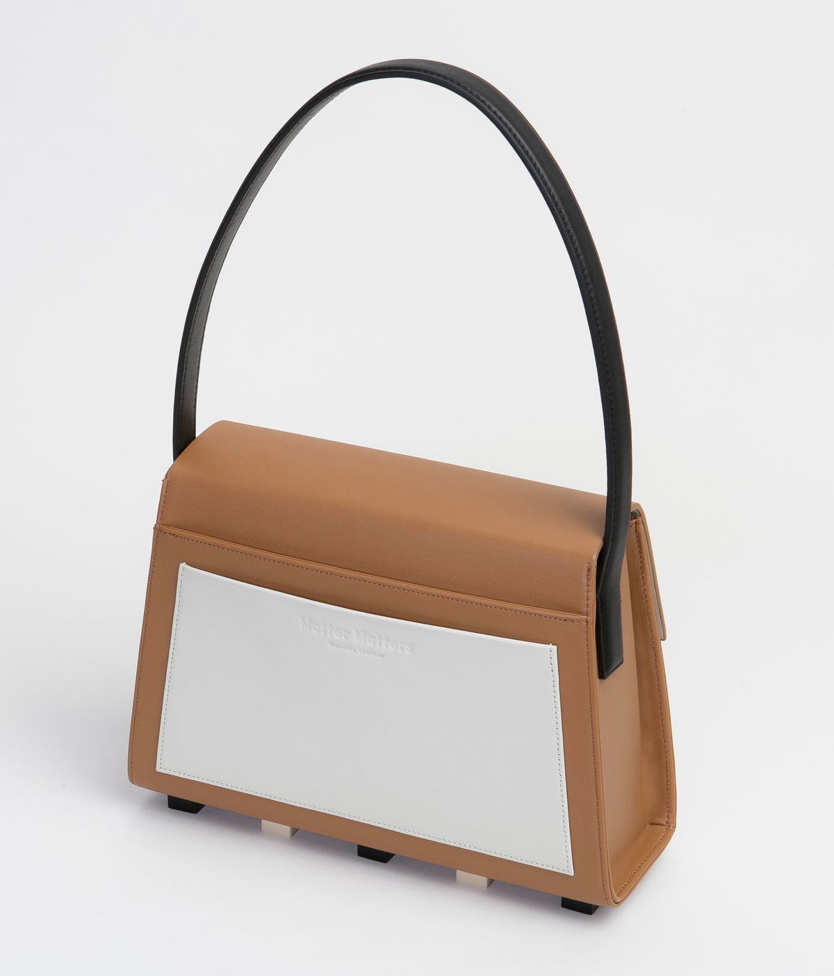 Image of Long Trapezoid satchel bag • Brown with Top Handle