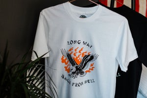 Image of 'Long Way Back From Hell' - Babe Cave x Jaca Tattoo - White Tee