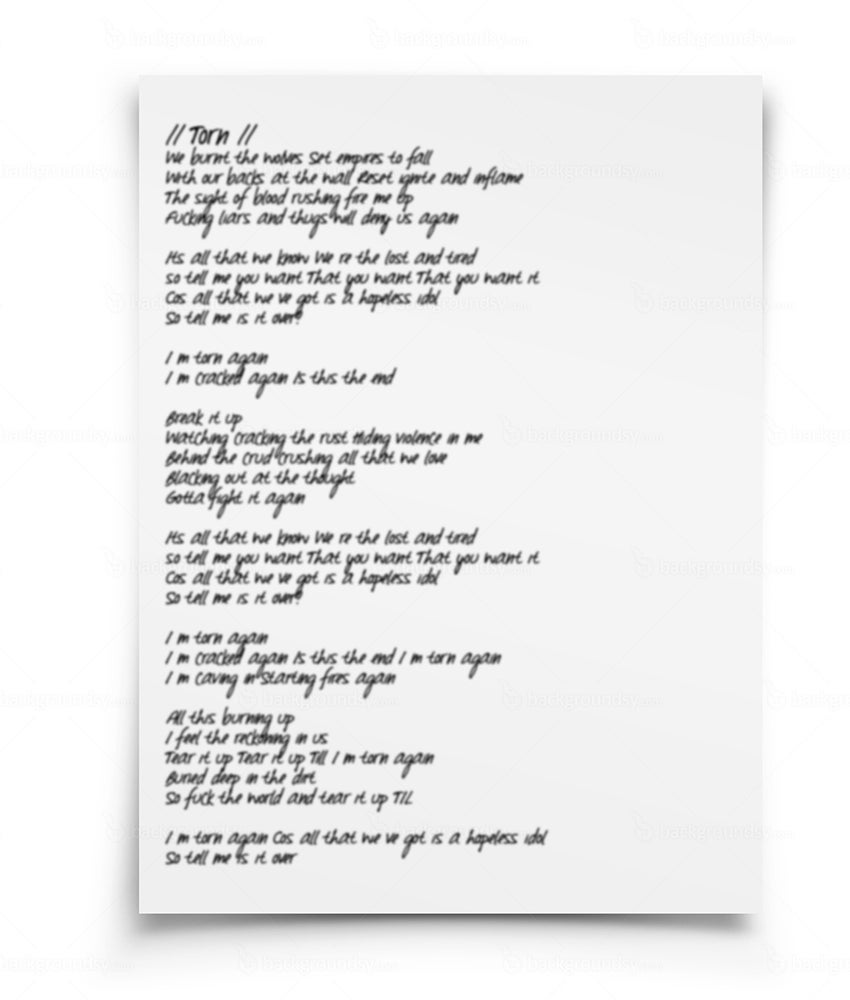 Image of SIGNED LYRICS SHEET