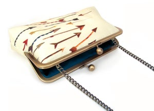 Image of Yellow arrows silk clutch bag
