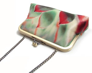 Image of red green succulent clutch bag