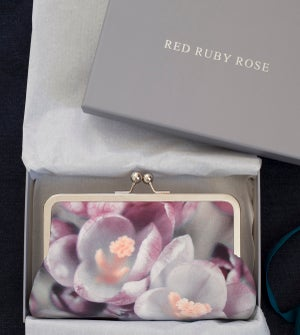 Image of Crocus flower pink clutch bag