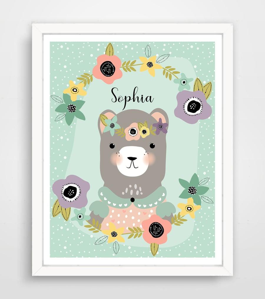 Image of Sweet Boho Bear - Personalized Baby Wall Art