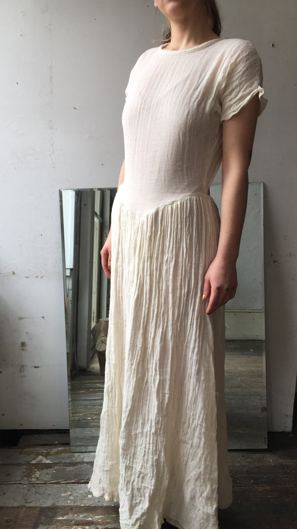 Image of Cotton gauze v waist dress