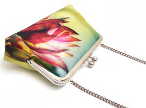 Image of Astrantia pink flower clutch bag