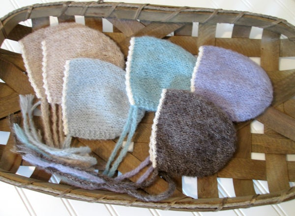 Image of RTS - Newborn Bonnet, Lace Trim - Brushed Alpaca - Select Colors Avail.