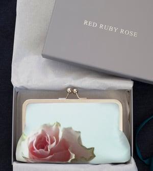 Image of Mint rose silk clutch bag