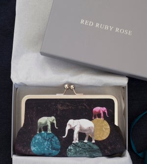 Image of Elephants silk clutch purse
