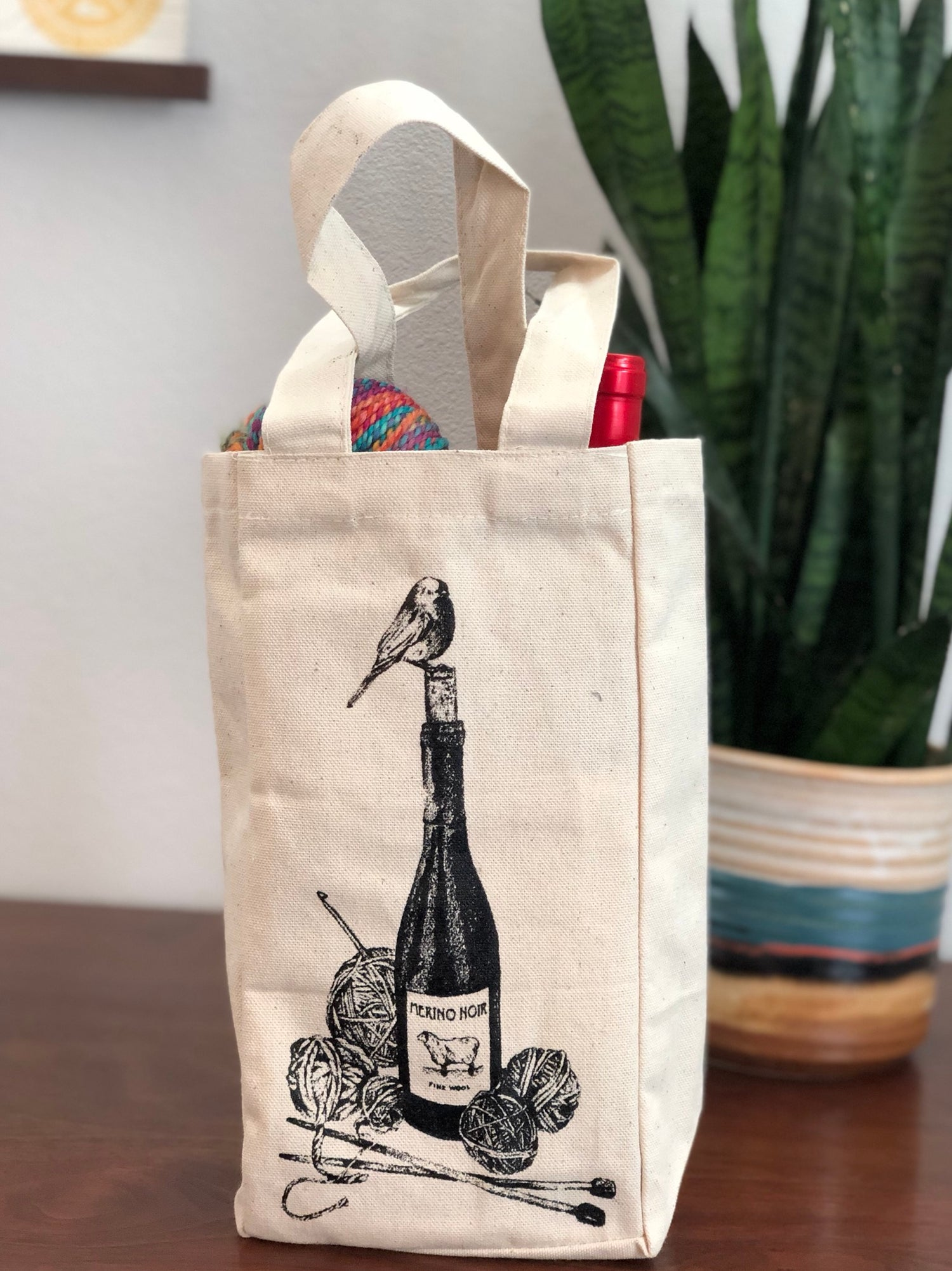 Image of Merino Noir Wool + Wine Project/Wine Tote