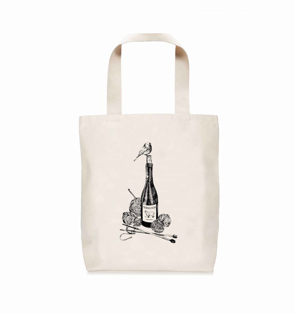 Image of Merino Noir Wool + Wine Canvas Tote