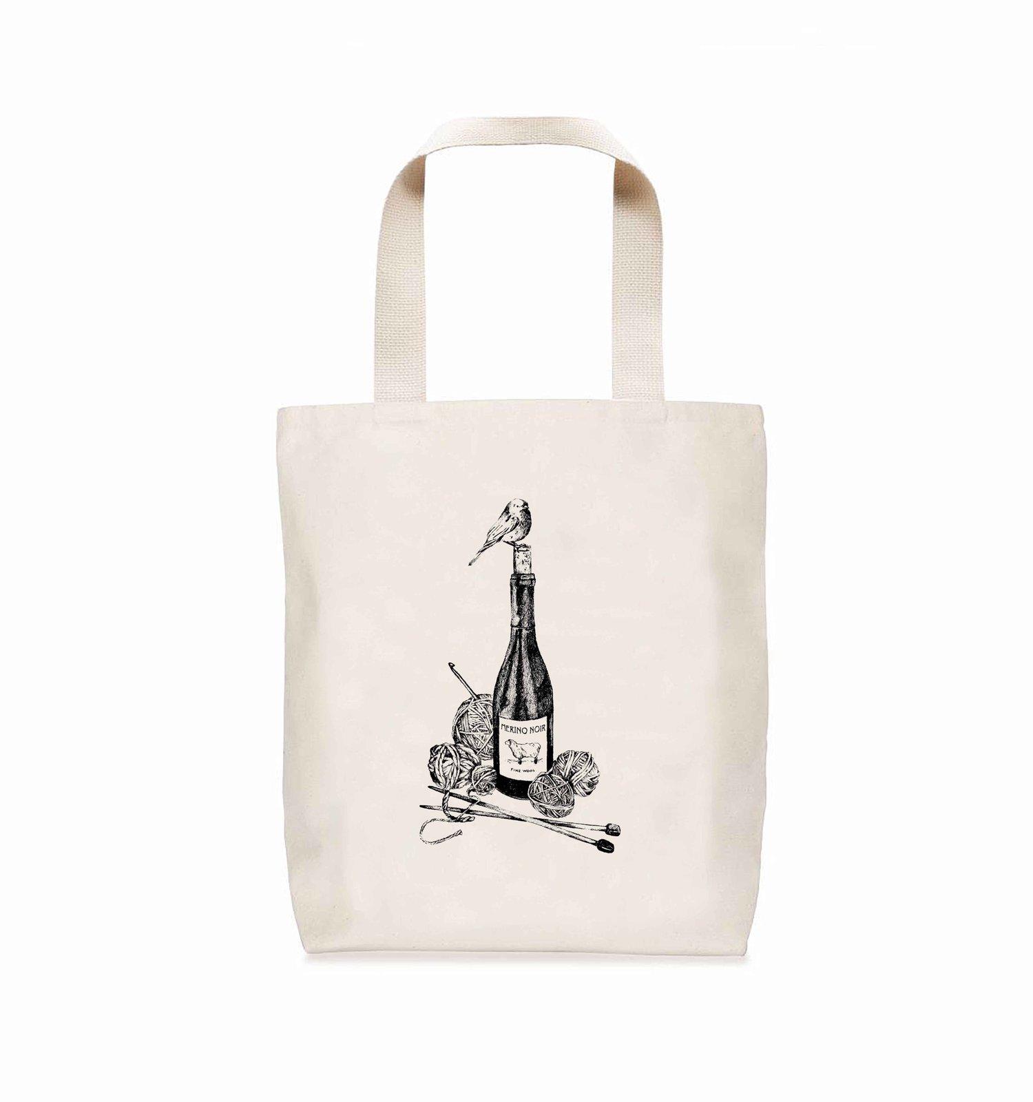 Image of Merino Noir Wool + Wine Canvas Tote