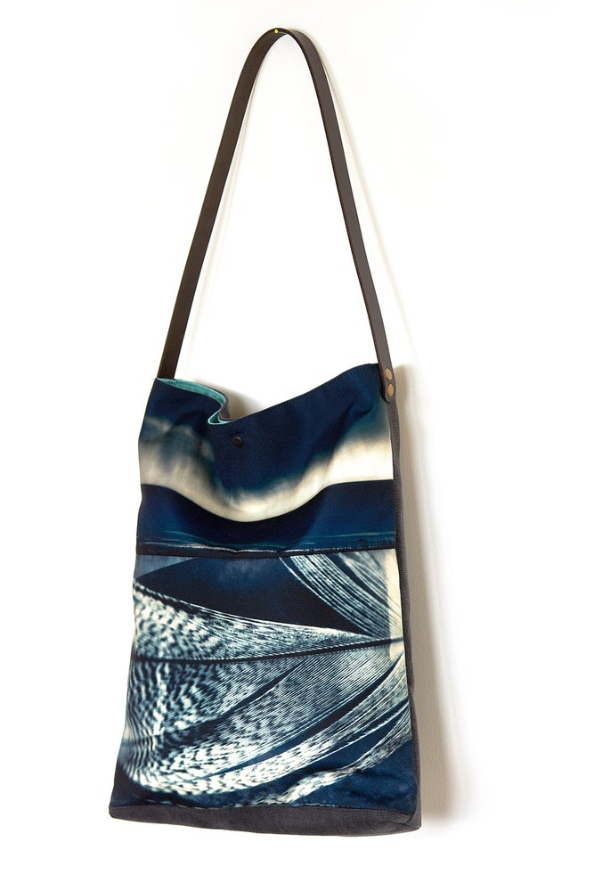 Image of Tote bag, storm feather + leather strap
