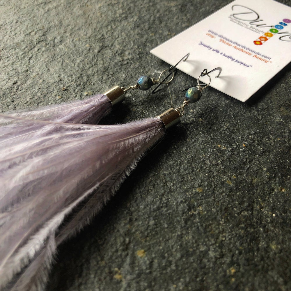 Image of Light Purple Feathers with Aurora Borealis Labradorite