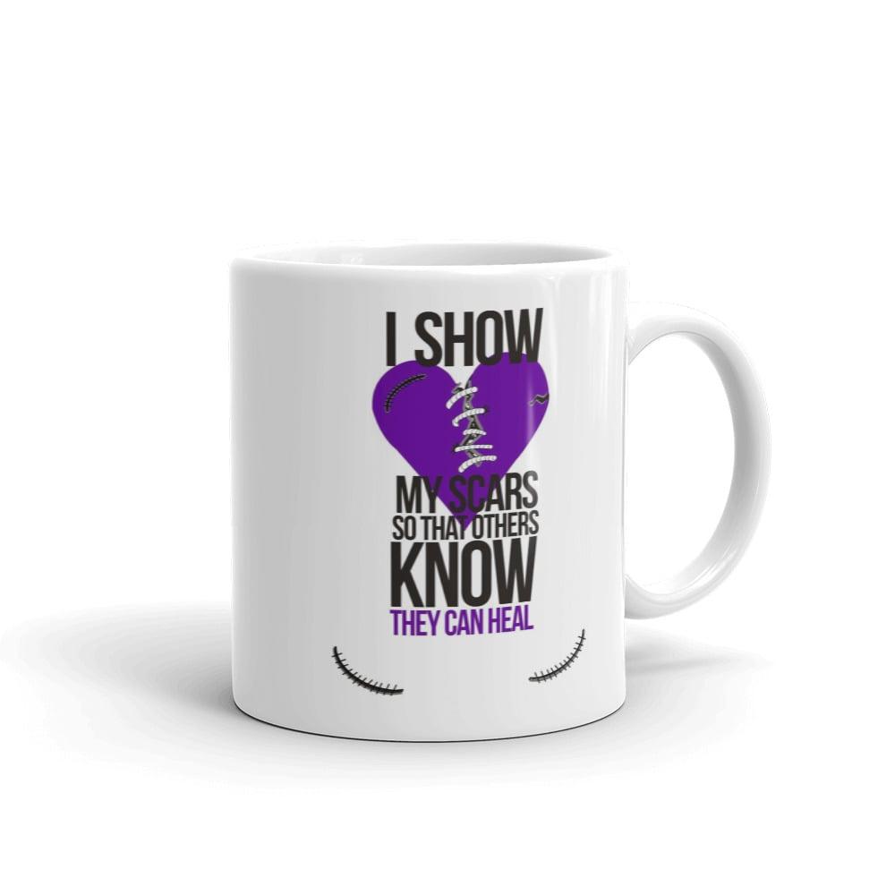 Image of I Show My Scars 11oz coffee mug - purple heart