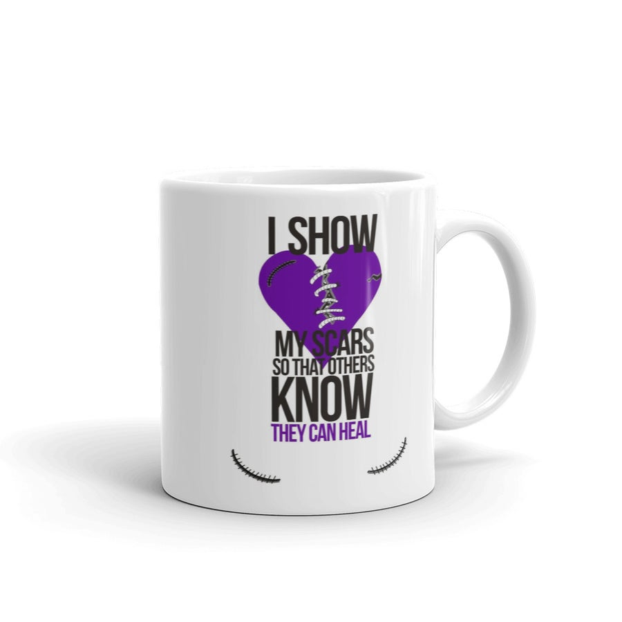 Image of I Show My Scars 11oz coffee mug - purple heart