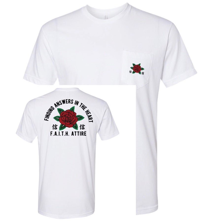 "Image of ""Rose"" White Pocket Tee"