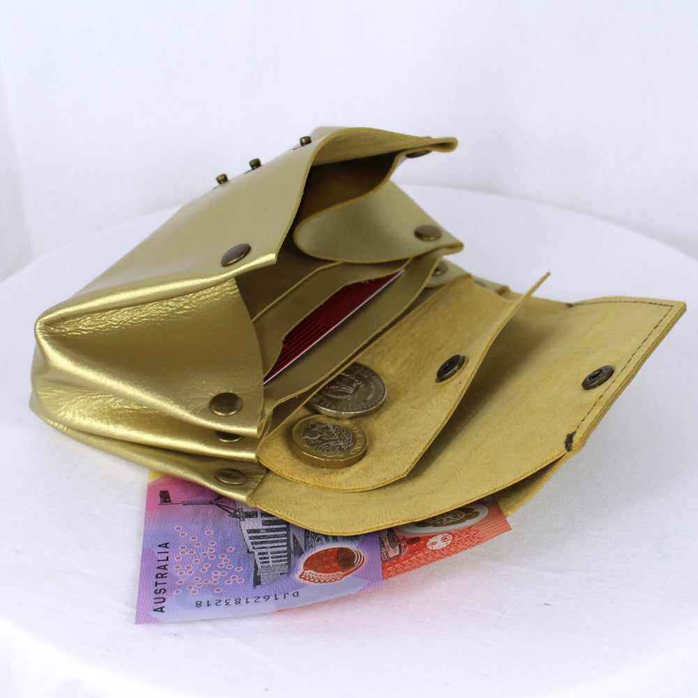 Image of Leather Origami Wallet - Peacock Bronze