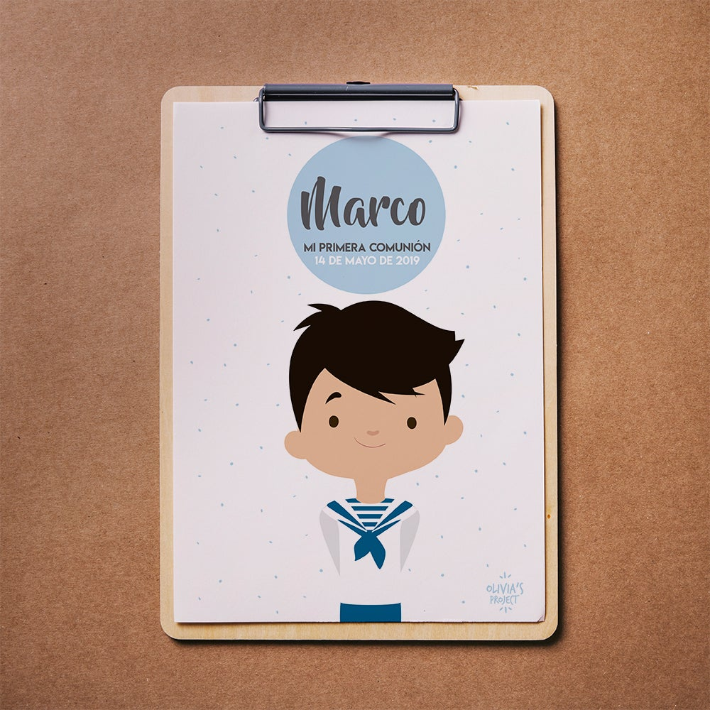 Image of Lámina Comunión Niño Personalizada