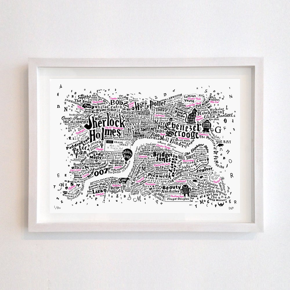 Image of Literary Central London Map (black and fluoro red screenprint, 2019)