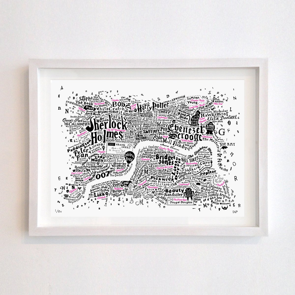 Image of Literary Central London Map (black and fluoro red screenprint)
