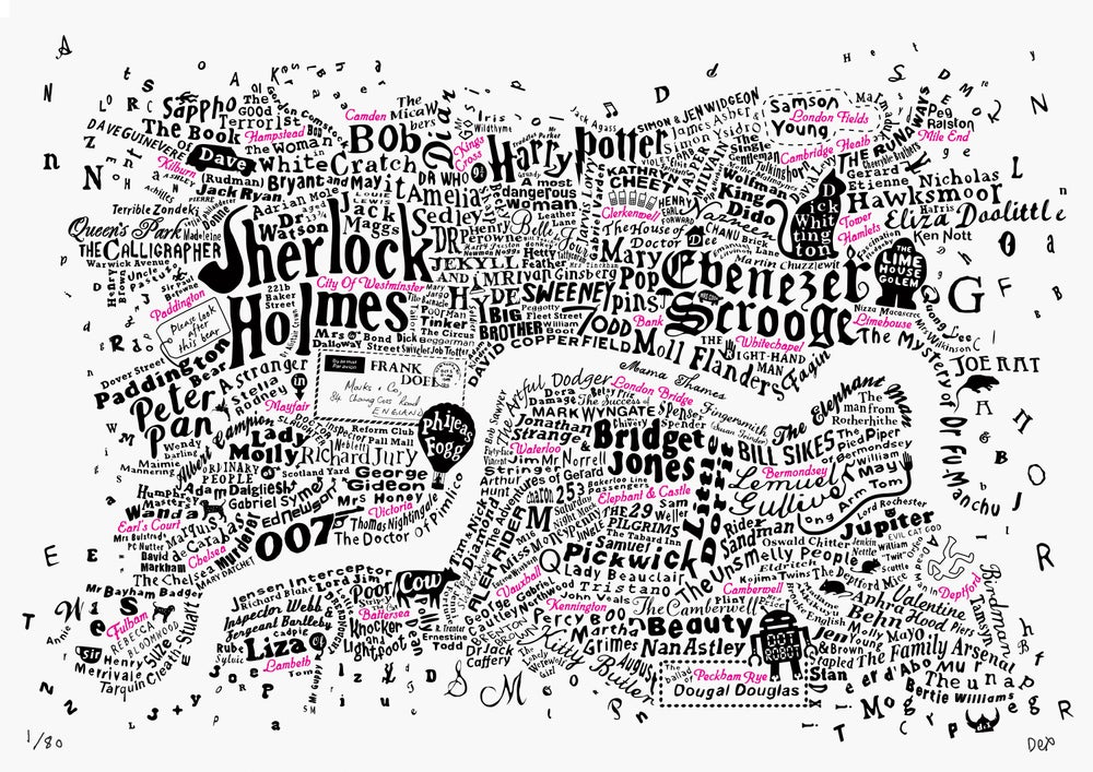 Literary Central London Map (black and fluoro pink screenprint)