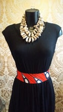 Faux Leather African Fabric Waist Belt (1)