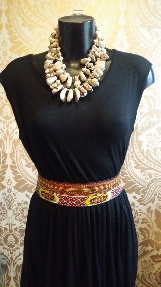 Image of Faux Leather African Fabric Waist Belt (1)