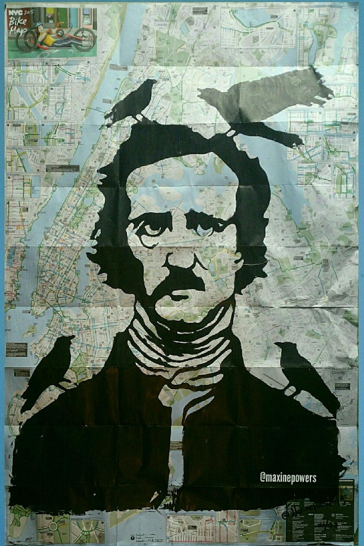"Image of ""Edgar Allan Poe. "" Silkscreen on New York City Bike Map."