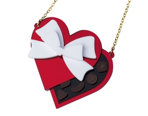 Mirror Red Valentines Heart Chocolate Box Necklace / Brooch - Black Heart Creatives