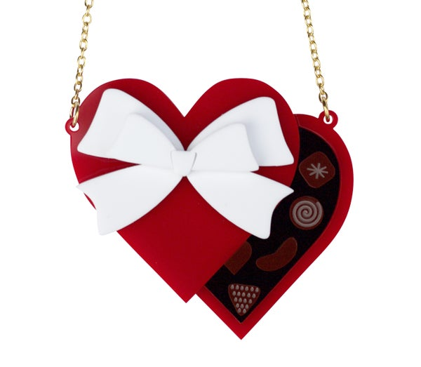 Matte Red Valentines Heart Chocolate Box Necklace / Brooch - Black Heart Creatives