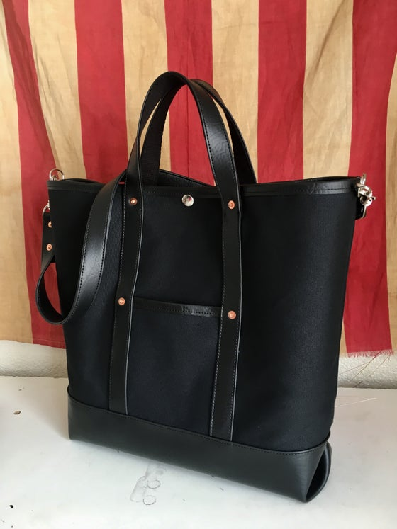Image of *A* Black Waxed Canvas and Vegan Leather Tote