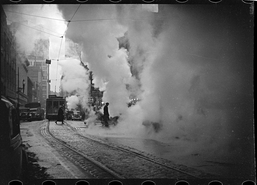 Image of Street cars and steam in Pittsburgh 1930s
