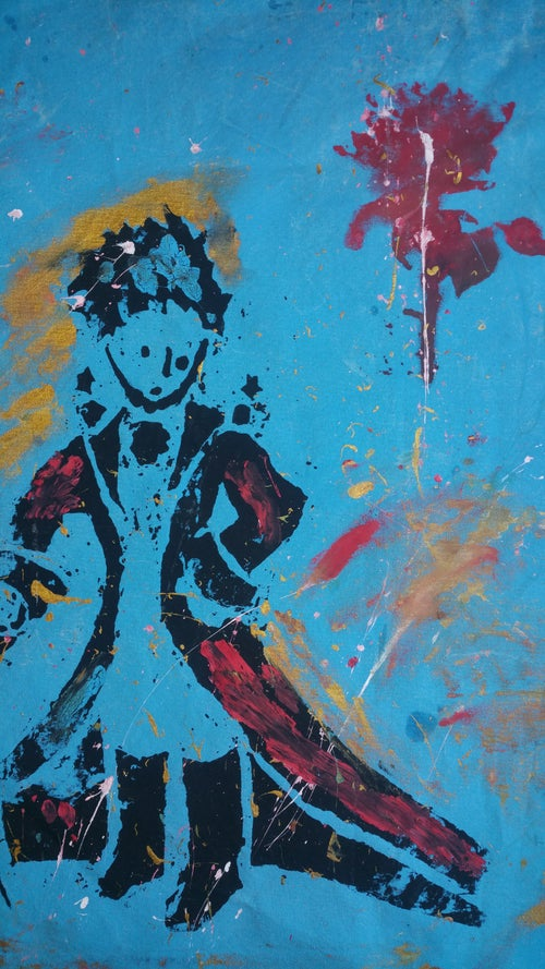 "Image of ""Little Prince."" Multiple silkscreens on Canvas."