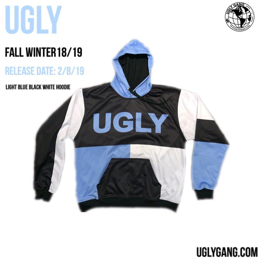 Image of Light blue black white block hoodie