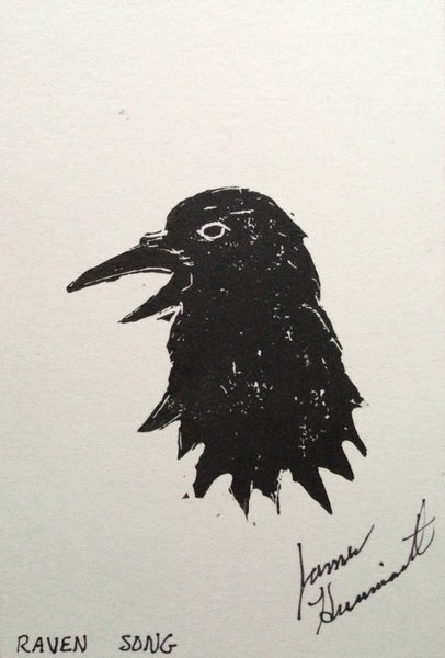 Image of 4x6 Raven Song Print- Handmade & signed