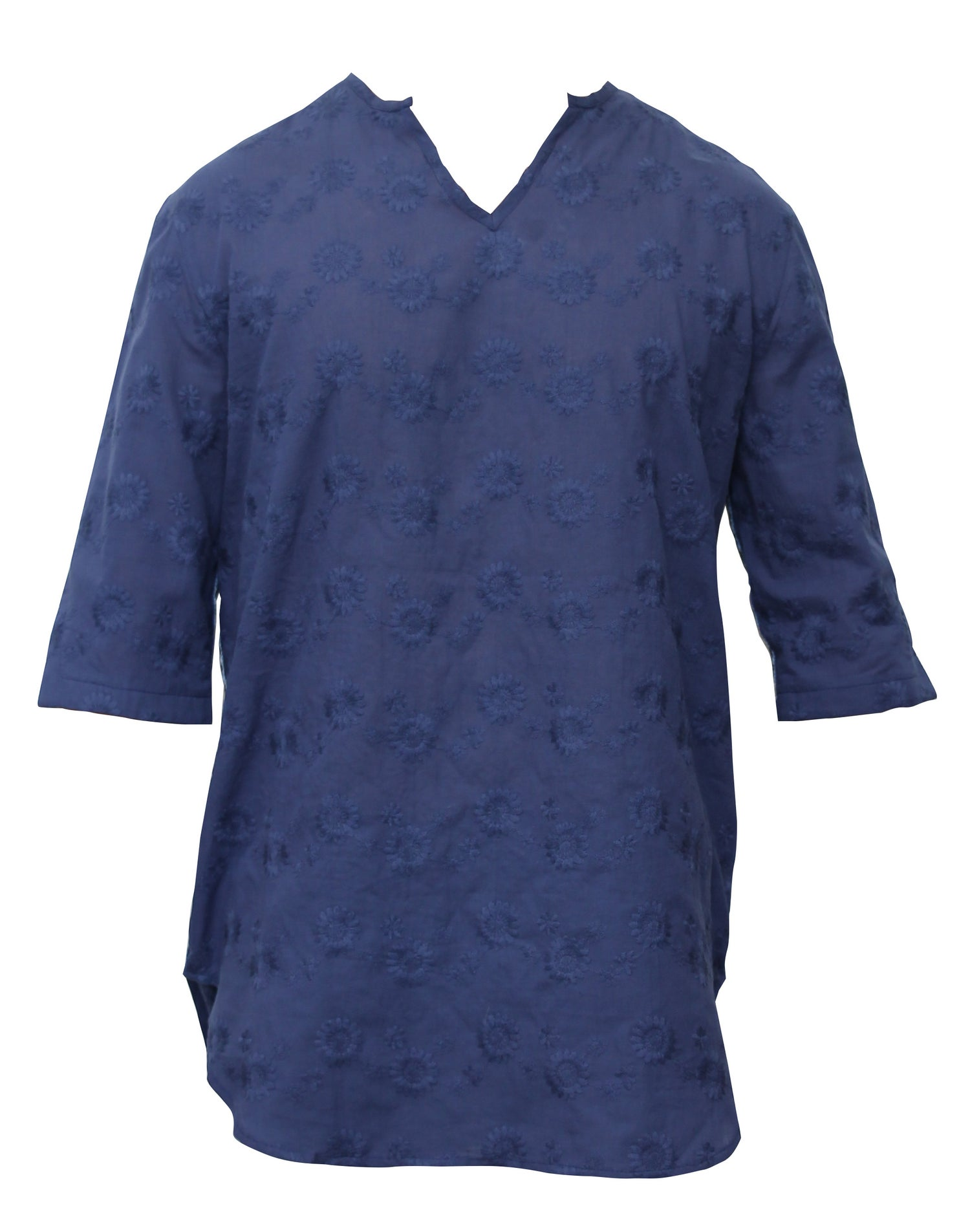 Image of Blue Embroidered Boho Shirt