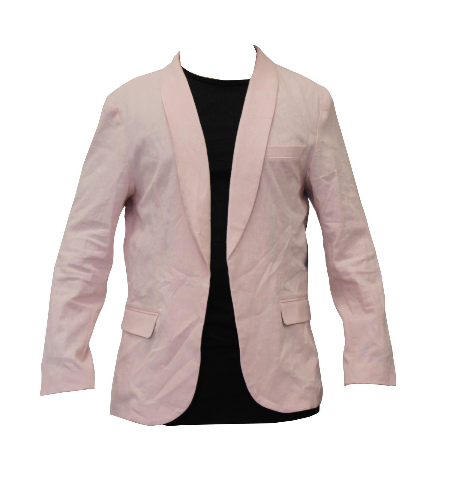 Image of Solid Pink Linen Blazer