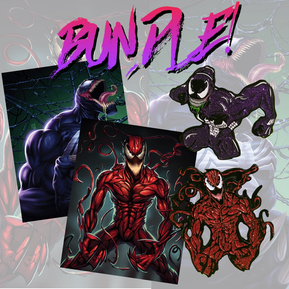 Image of Venom & Carnage Pins+Prints Bundle