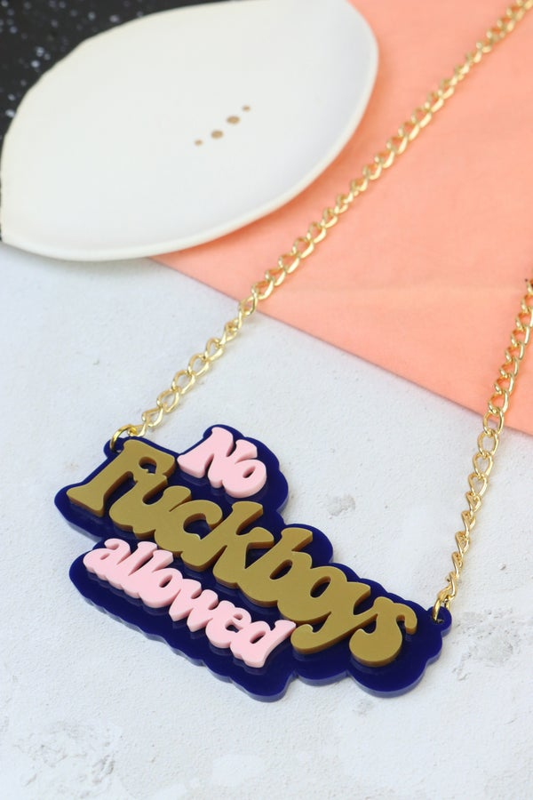 No Fuckboys Allowed Necklace - Black Heart Creatives