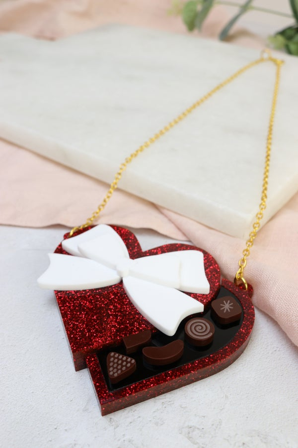 Glitter Red Valentines Heart Chocolate Box Necklace / Brooch - Black Heart Creatives