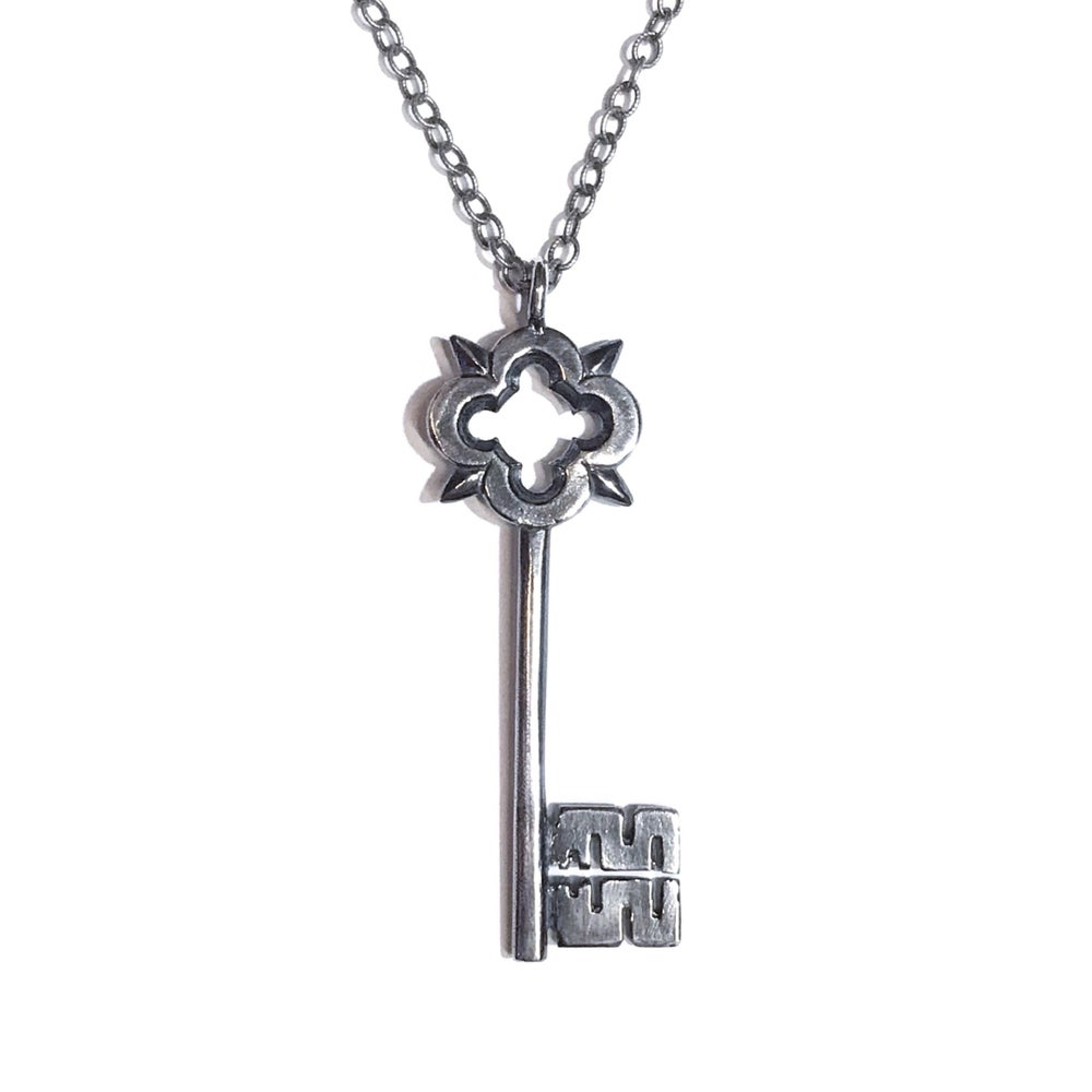 Image of Skeleton Key pendant in oxidized sterling silver