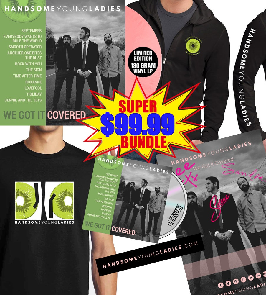 Image of SUPER BUNDLE: (Signed 11x17 Poster + 180 Gram Vinyl LP + CD + Hoodie + T-Shirt + Sticker + 10 Pins)